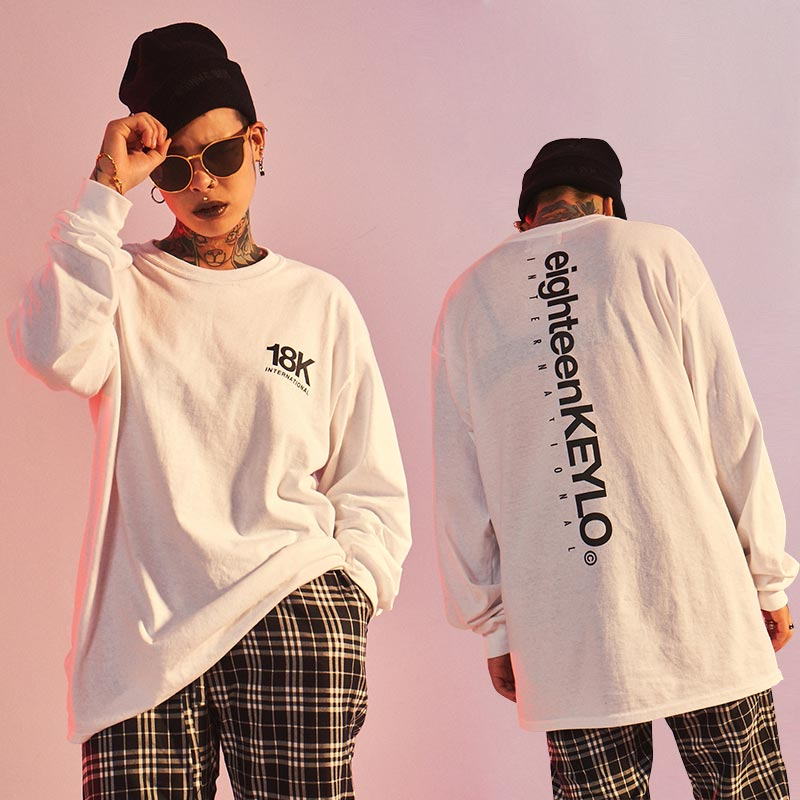 [10%할인][18K] LENGTH LOGO LONG TEE - WHITE